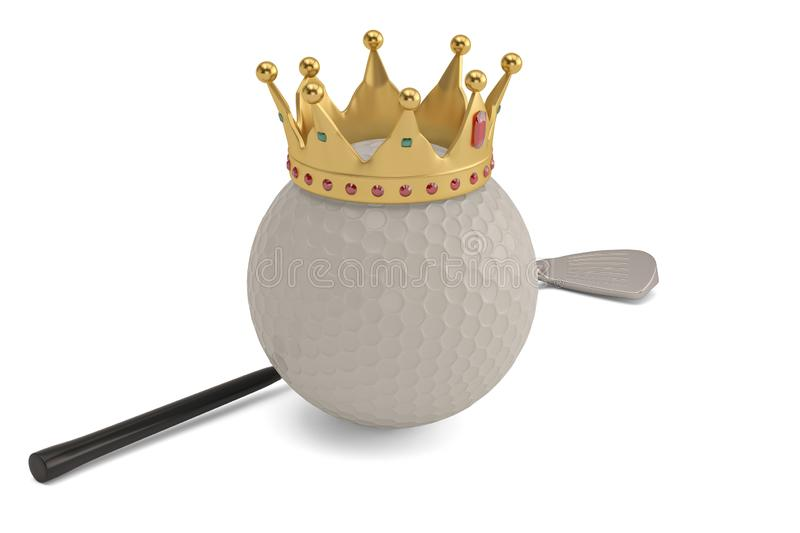 Gold crown on golf ball and golf club isolatedon white background. 3D illustration. royalty free illustration