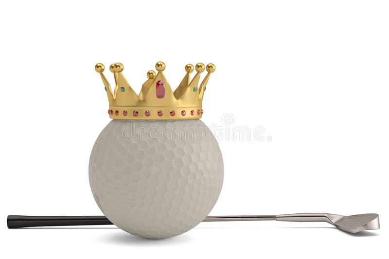 Gold crown on golf ball and golf club isolatedon white background. 3D illustration. stock illustration