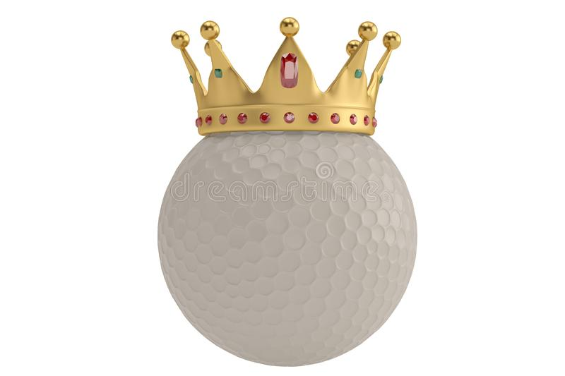 Gold crown on golf ball isolatedon white background. 3D illustration. royalty free illustration