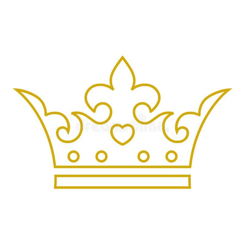 Gold crown icon, Crown logo royalty free illustration