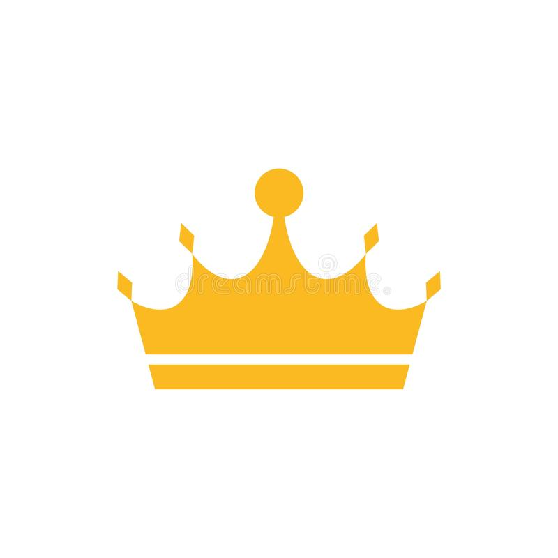 Gold crown icon or logo royalty free illustration