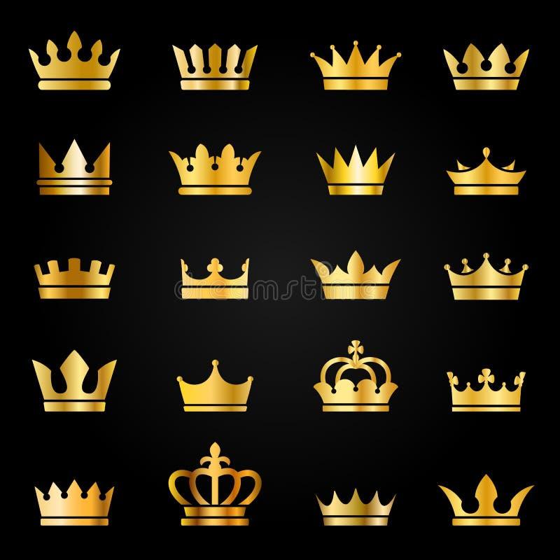 Free Gold Crown Icons. Queen King Crowns Luxury Royal On Blackboard, Crowning Tiara Heraldic Winner Award Jewel Vector Set Royalty Free Stock Photos - 153984258