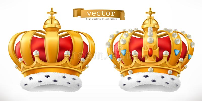 Gold crown, king. 3d vector icon stock illustration