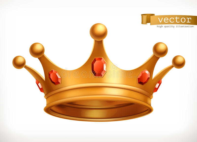 Gold crown of the king vector icon vector illustration
