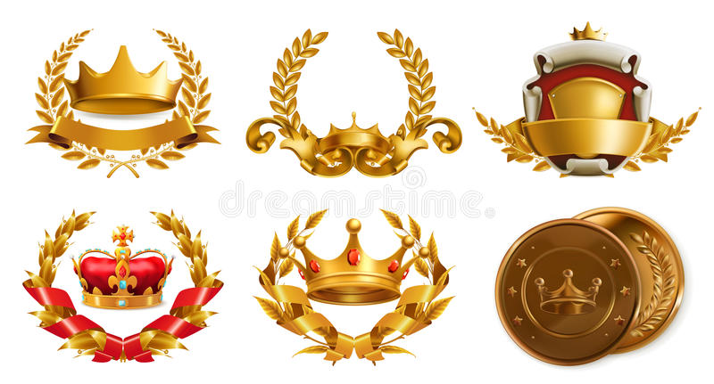 Gold crown and laurel wreath. Vector logo royalty free illustration