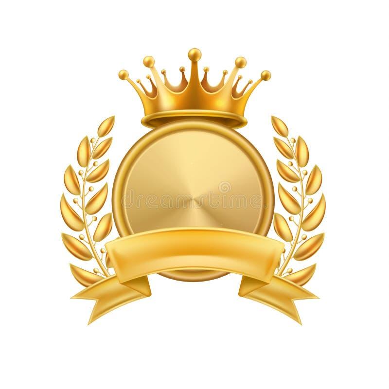 Gold crown laurel wreath winner frame isolated stock illustration