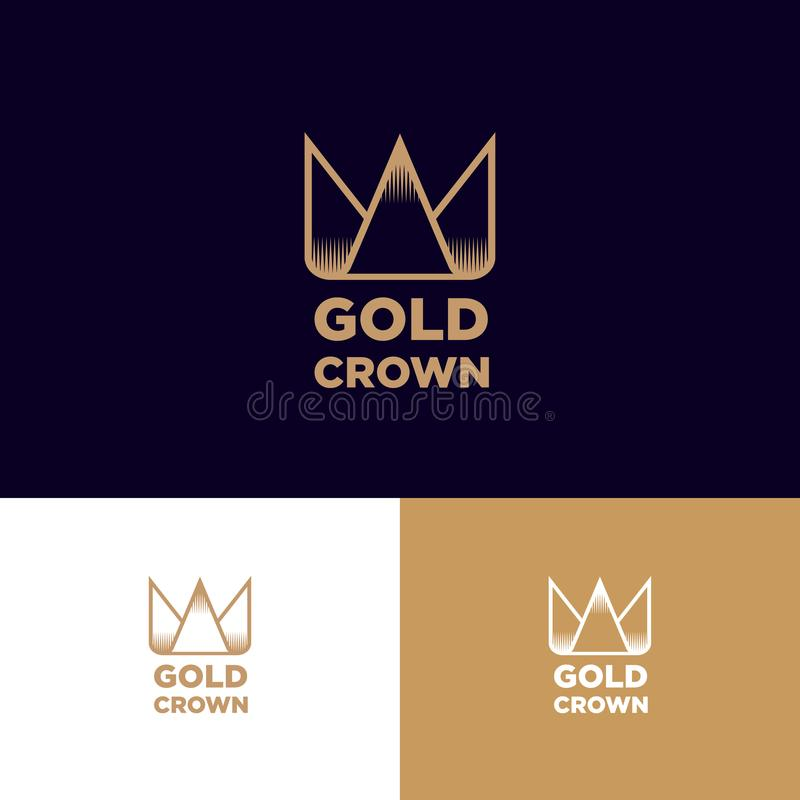Gold Crown logo. Icon of the golden crown in the style of engraving. royalty free illustration