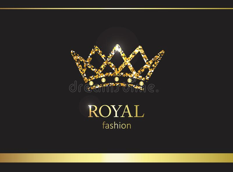 Gold crown. Luxury label, emblem or packing. Logo design. Fashion banner with glitter and shine royalty free illustration
