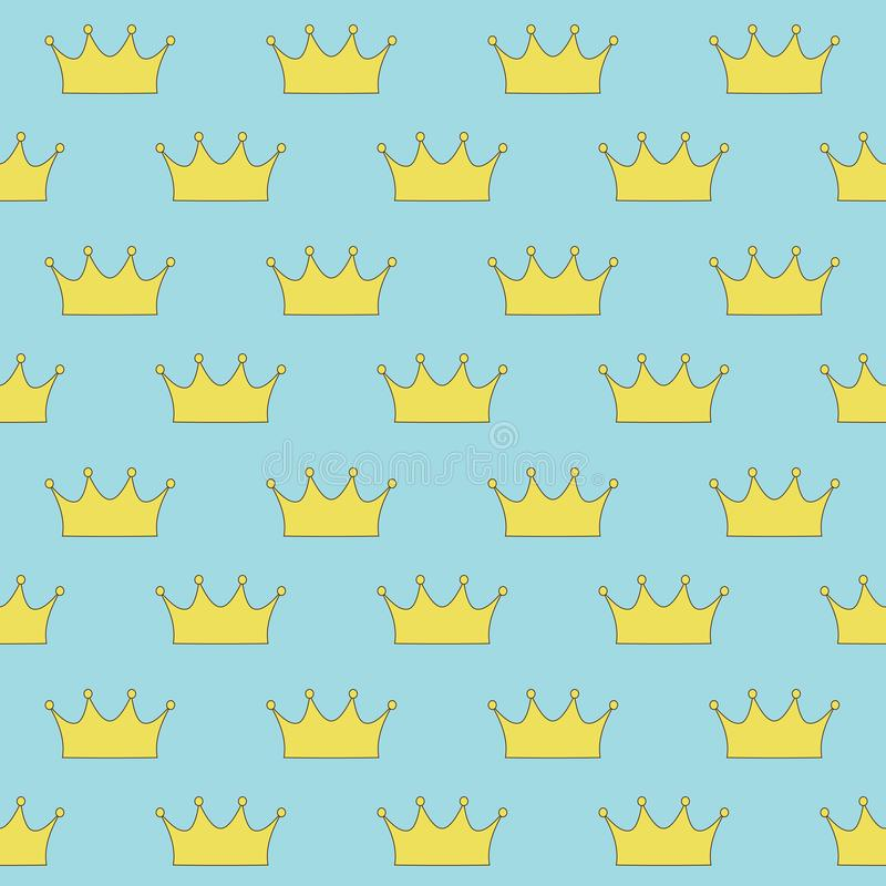 Gold crown princess or queen on blue background seamless pattern royalty free stock images