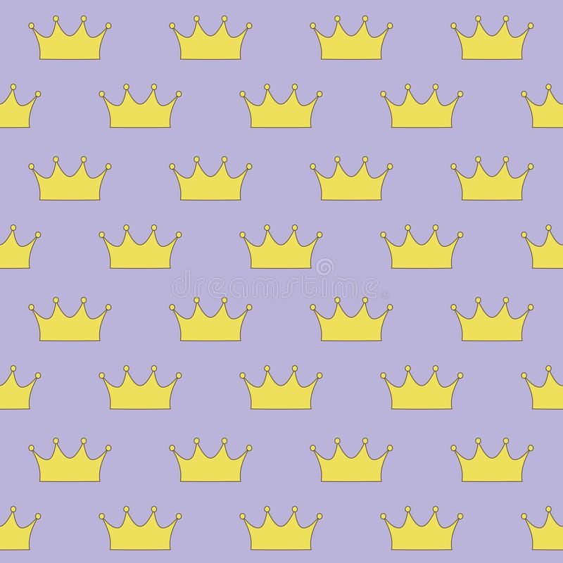 Gold crown princess or queen on purple background seamless pattern vector.  stock illustration