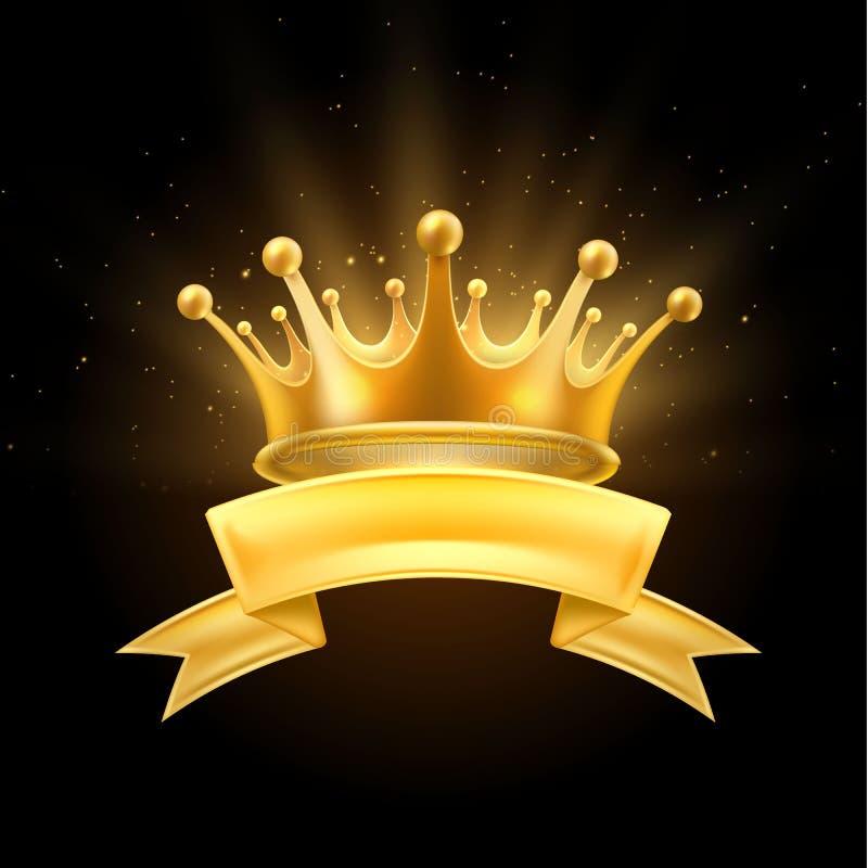 Gold crown ribbon winner shiny sign black stock illustration