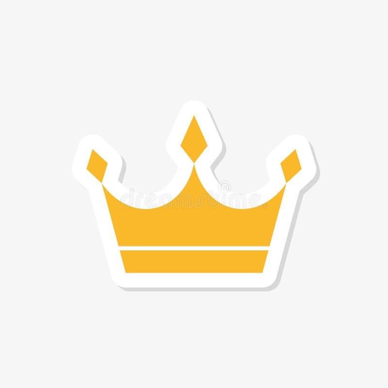 Gold Crown sticker. King Design. Royal Icon stock illustration