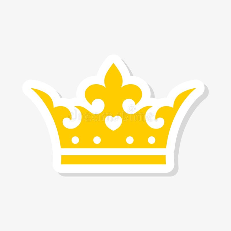 Gold crown sticker, simple vector icon stock illustration