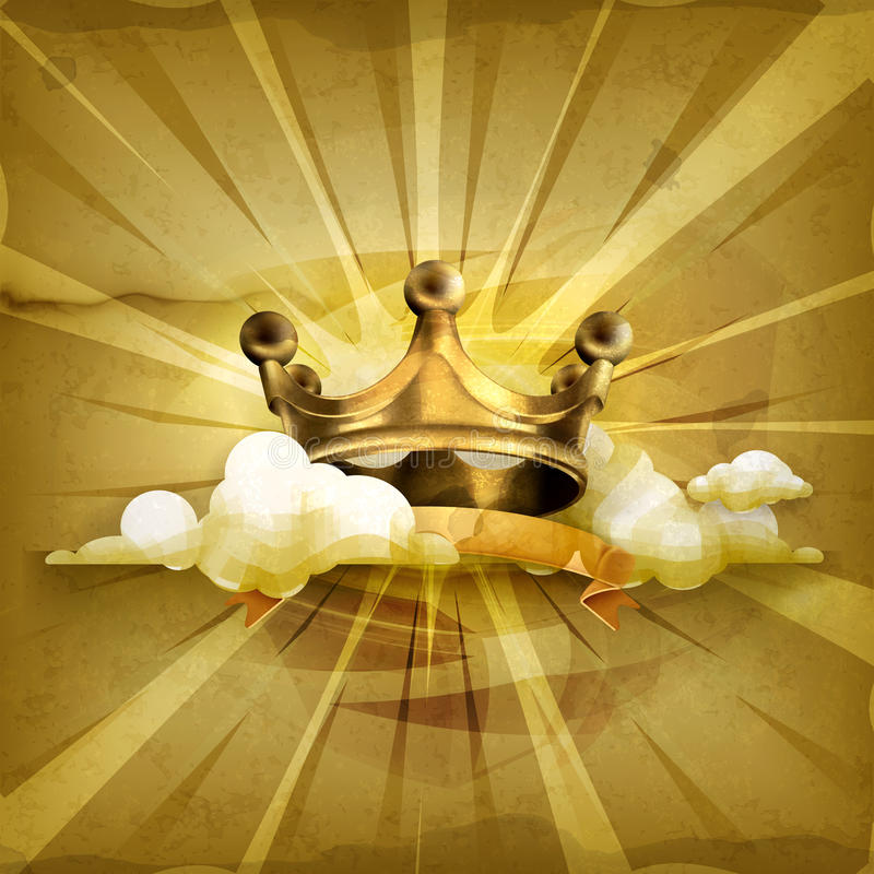 Gold crown, vector background stock illustration