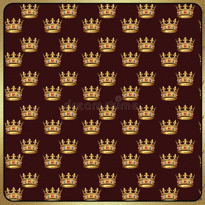 Gold crown vintage pattern. Gold crowns on fabric vintage background. Digital illustration. For art, print, web, holiday background, fabric texture design stock illustration