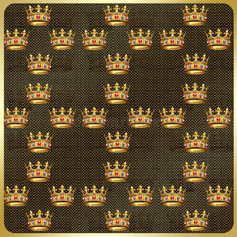 Gold crown vintage. Vintage pattern with gold king crown. Digital illustrations for art, print, web, greeting card, album, fashion, textile, texture and more royalty free illustration