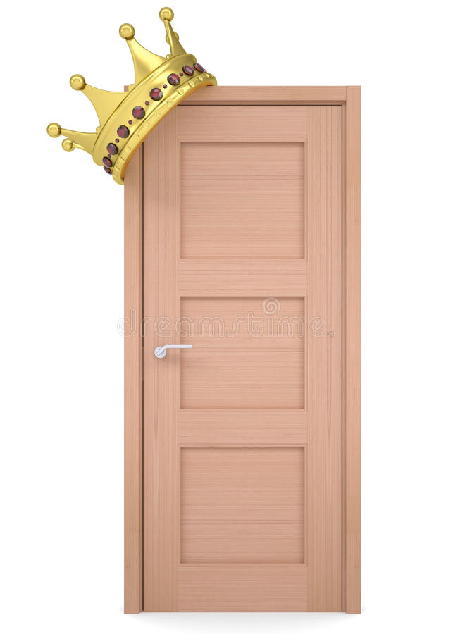 Download Gold Crown On A Wooden Door Stock Photo - Image: 32824900