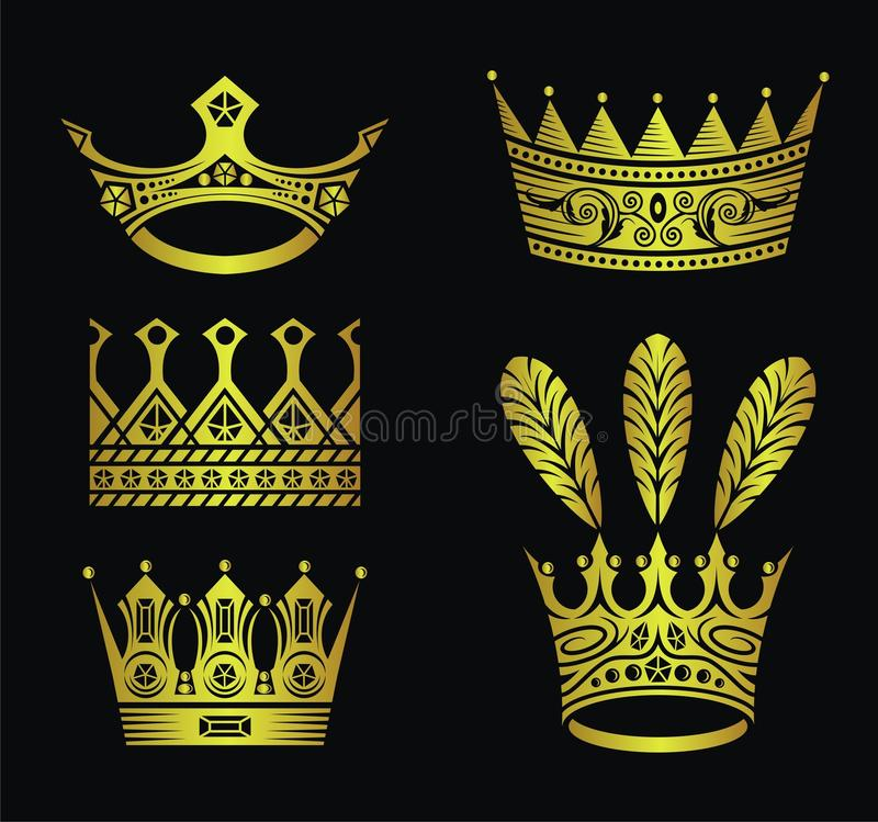 Download Gold crowns stock vector. Illustration of royalty, drawing - 11605971