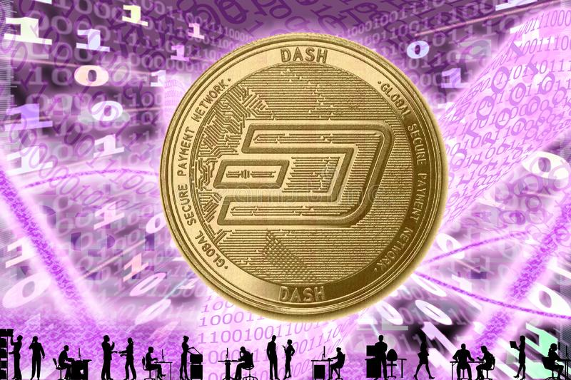 Gold Crypto Coin DASH, on the background of the binary code with tunnels with energies. Silhouettes of people in the office.  stock image