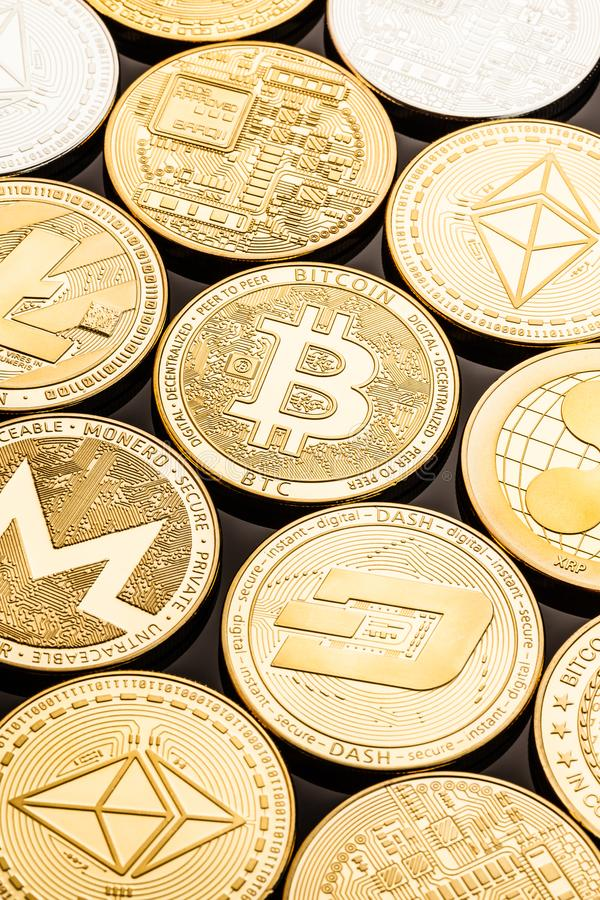 Gold cryptocurrency coins royalty free stock photo