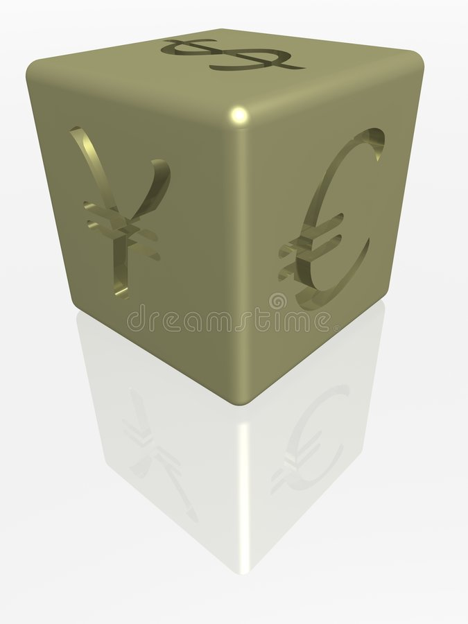 Gold cube with stock illustration