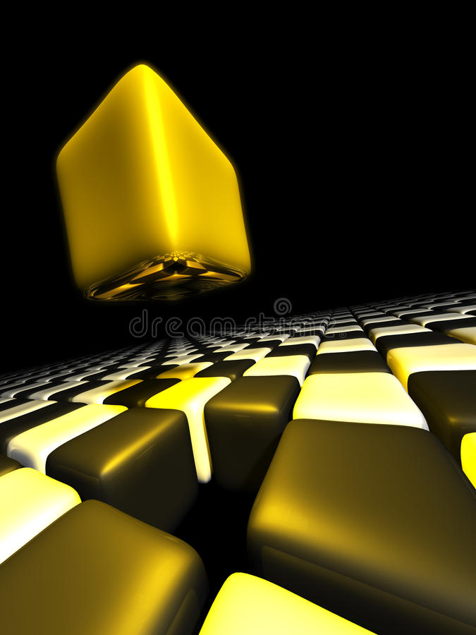 Download Gold Cube Alone Above Many Anonymous Cubes Stock Illustration - Image: 23463926