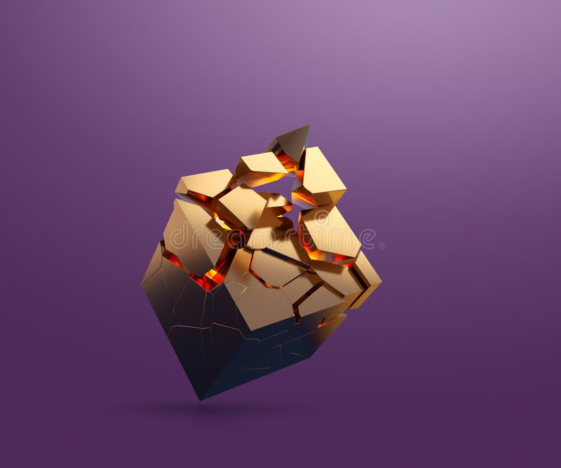 Gold cube fragmenting. Gold cube is fragmenting while flating in the air. 3D render royalty free stock image