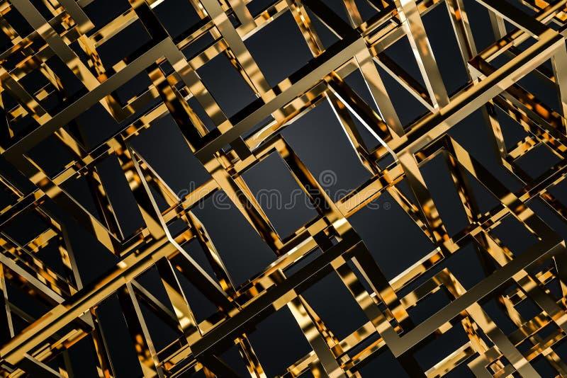 Gold cubes over black background royalty free illustration