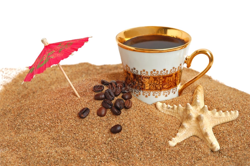 Gold cup with coffee royalty free stock photos