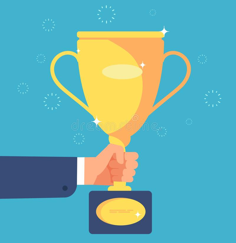 Gold cup in hand. Businessman with trophy winner prize goblet. Success goals business, achievement vector concept stock illustration