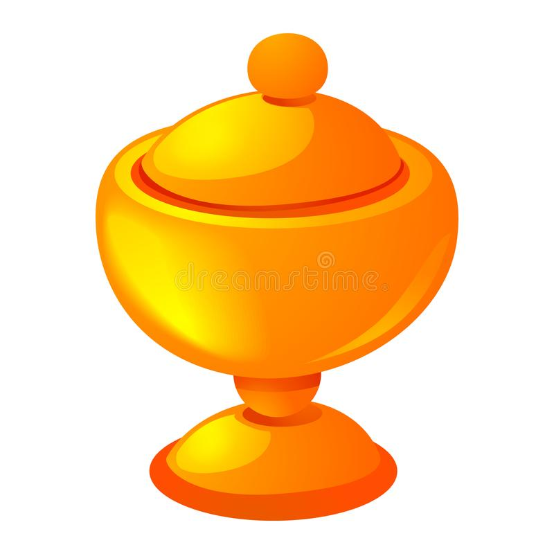 Gold cup icon, cartoon style royalty free illustration