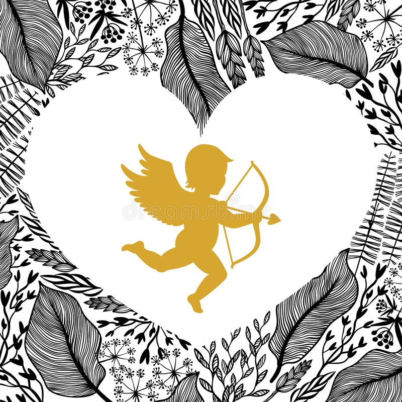 Gold Cupid with arrow and bow, floral frame in heart shape.. Amour Silhouette for Happy Valentines day decorations or vector illustration