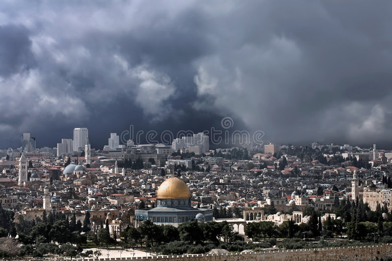 Download Gold Cupola Of Jerusalem Before The Thunderstorm. Stock Image - Image: 5936961