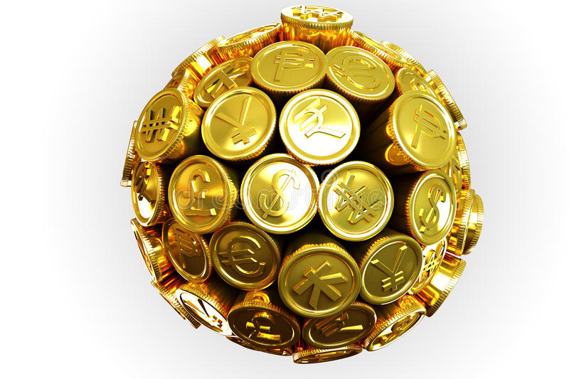 Download Gold Currency Around The World Stock Illustration - Image: 24282751