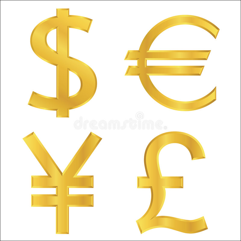 Free Gold Currency Symbols Royalty Free Stock Photography - 8751637