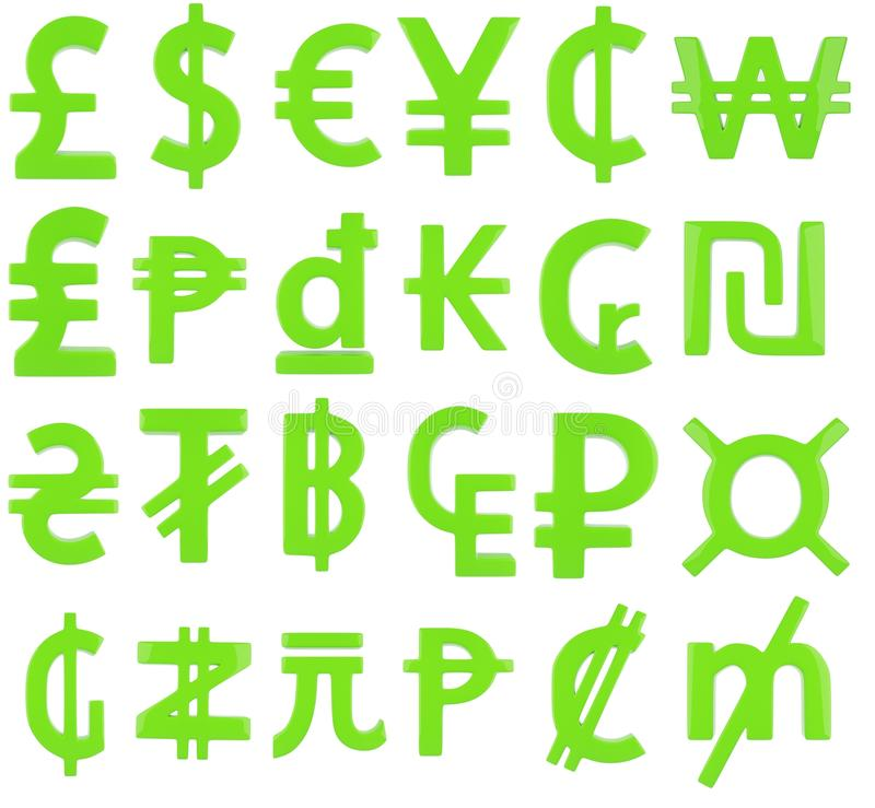 Green Currency Symbols Stock Illustration Illustration Of Isolated