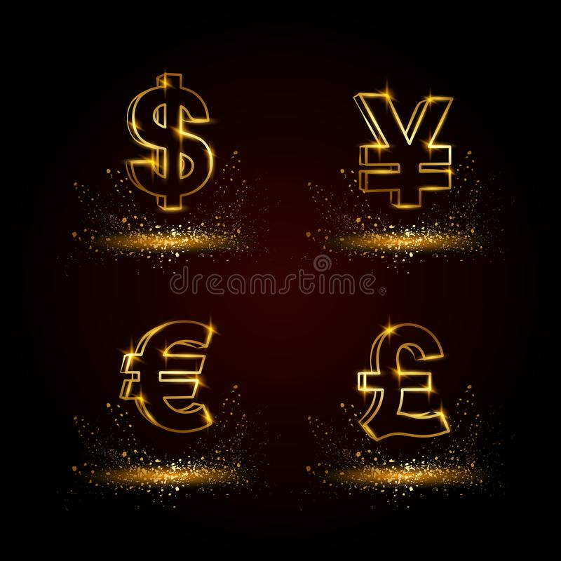 Gold currency symbols set. Currency linear vector illustration on a black background. stock illustration