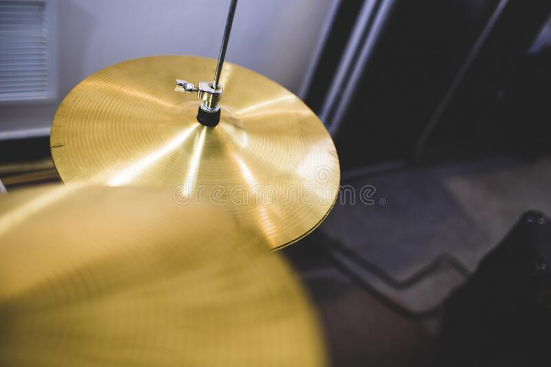 Gold cymbals in a music drum royalty free stock photos