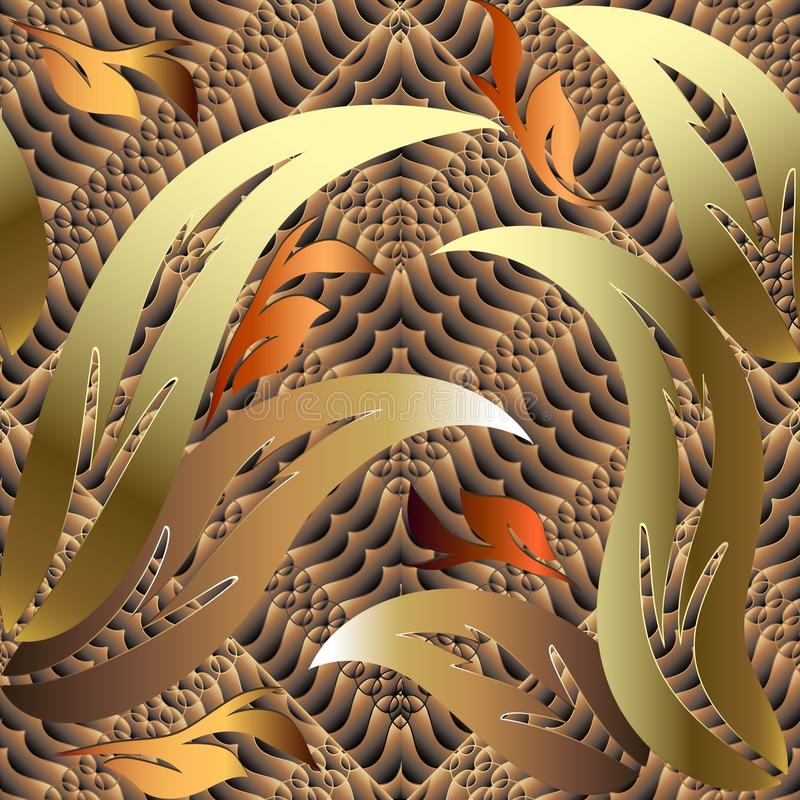 Gold 3d autumn leaves Baroque vector seamless pattern. vector illustration