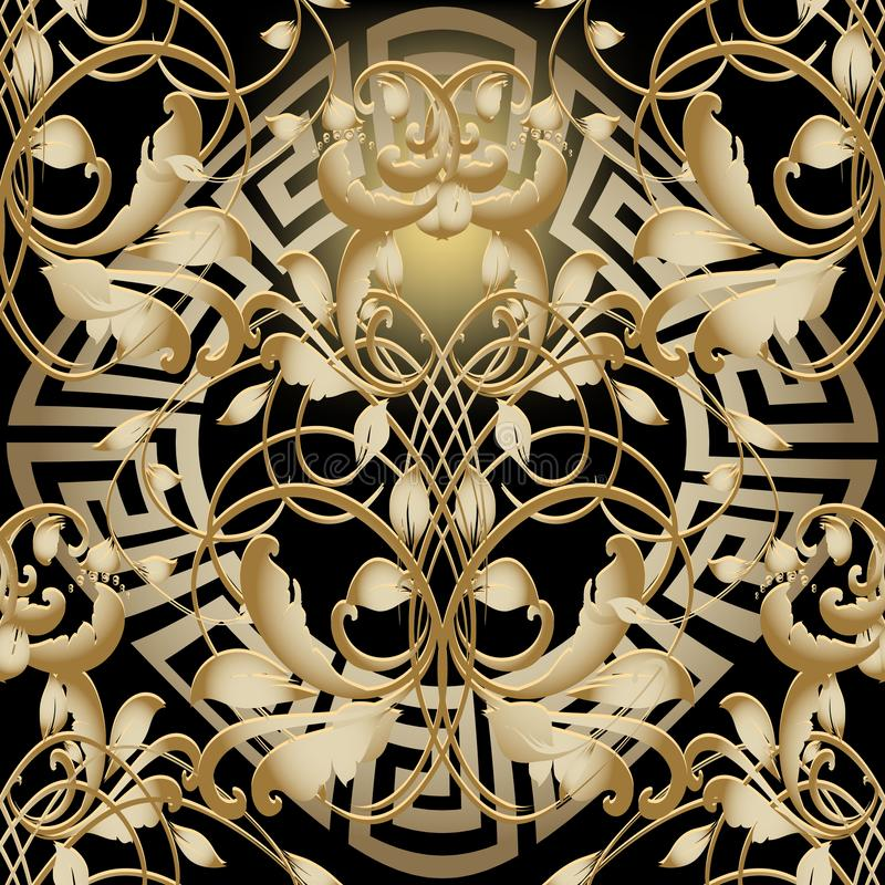 Gold 3d Barock Renaissance Vektor nahtloses Muster Vintage-Zieruntergrund Griechen-Mandala floral vektor abbildung