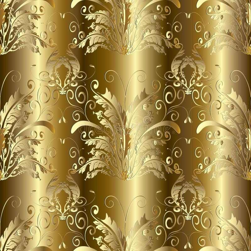 Gold 3d Baroque Damask seamless pattern. Vector floral backgroun royalty free illustration