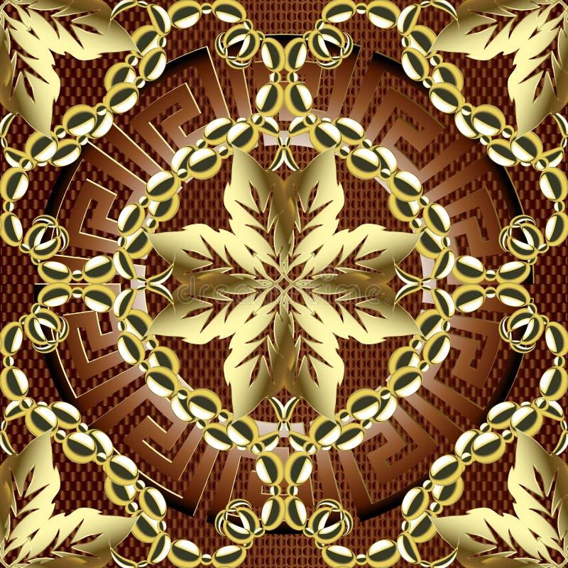 Gold 3d Baroque vector seamless pattern. Ornamental textured dark red background. Floral repeat leafy backdrop. Round greek key. Meanders 3d mandala. Damask vector illustration