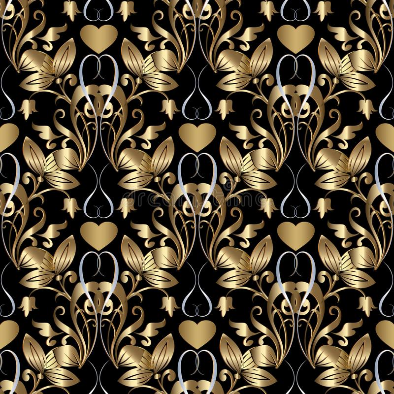 Gold 3d damask seamless pattern with flowers and love hearts. Vector floral vintage ornate background. Luxury design for stock illustration