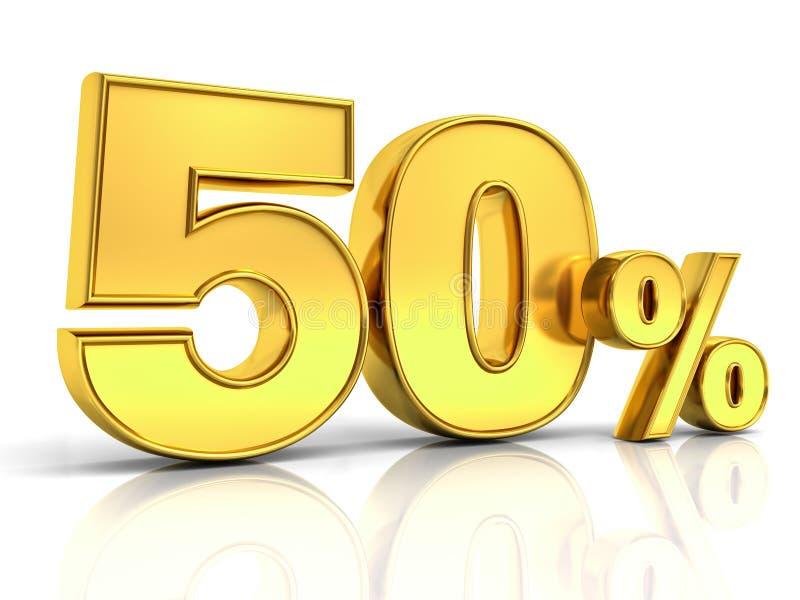 Gold 3D fünfzig Rabatttag der Prozent oder des Sonderangebots 50% vektor abbildung