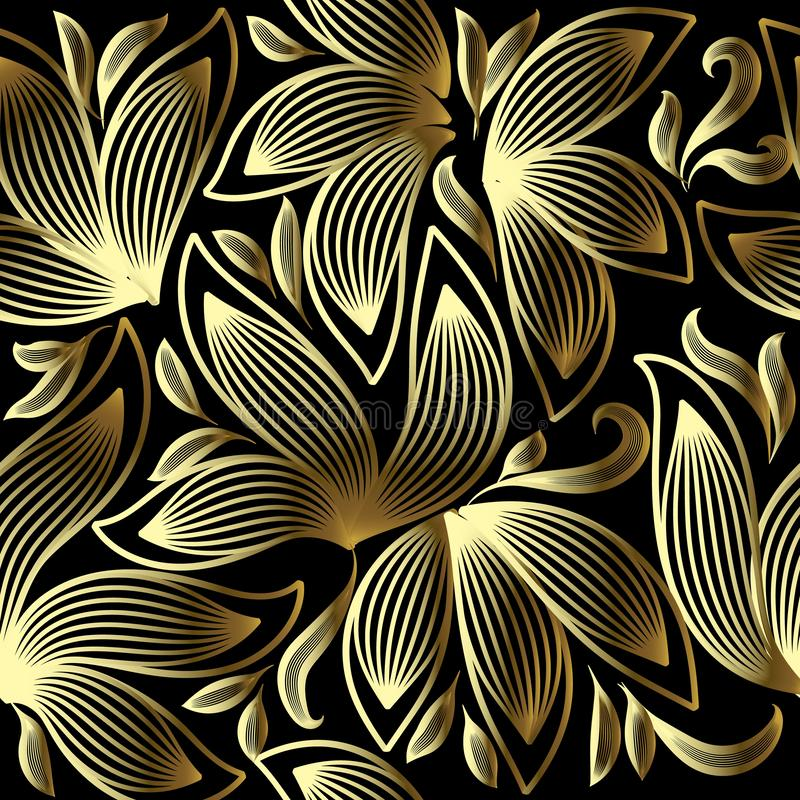 Gold 3d floral vector seamless pattern. Line art tracery hand drawn striped paisley flowers. Ornamental abstract flourish vector illustration