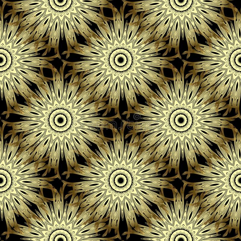 Gold 3d flowers ornate seamless pattern. Ornamental floral background. Repeat decorative luxury backdrop. Ethnic style flourish. Textured mandalas with zigzag vector illustration