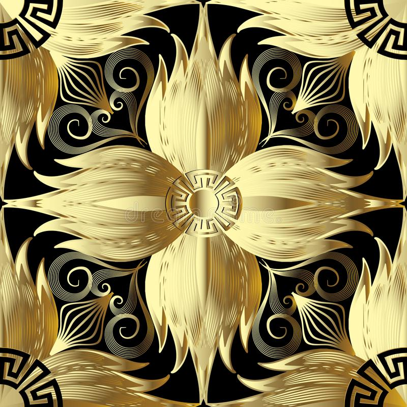 Gold 3d flowers seamless pattern. Vector abstract floral background. Greek key meanders ornament. Golden decorative design with g. Eometric shapes and elements stock illustration