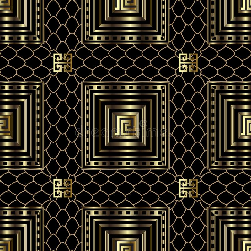 Gold 3d geometric greek vector seamless pattern. Ornamental textured crocodile skin background. Striped line art squares, shapes, stock illustration