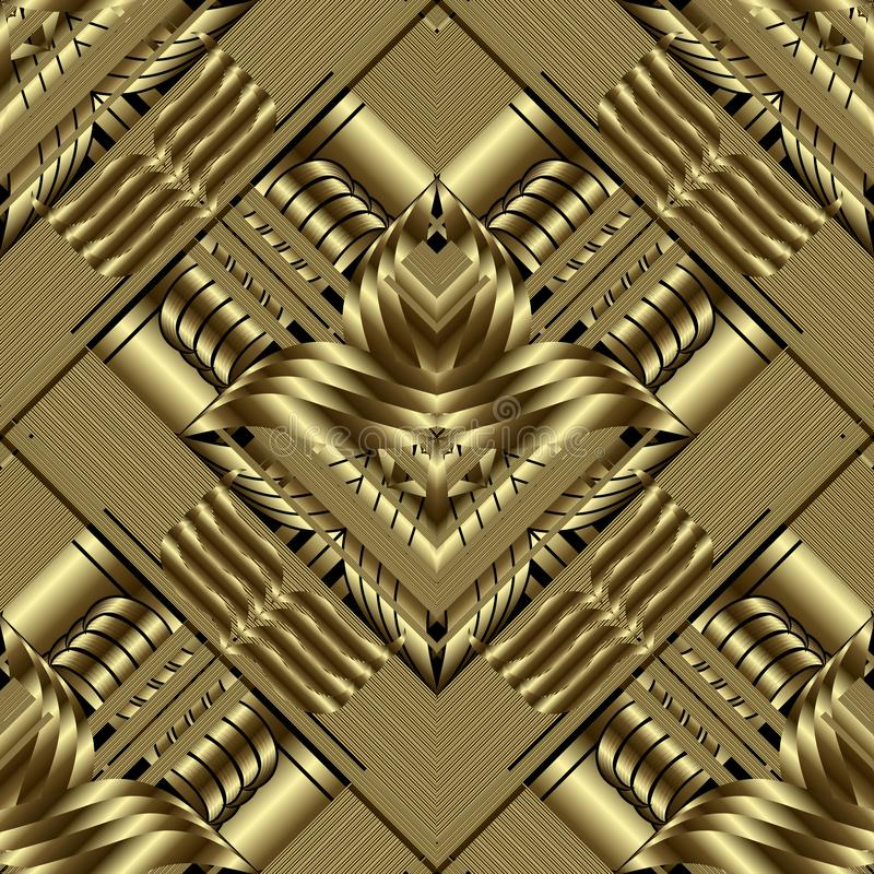 Gold 3d geometric seamless pattern. Ornate vector striped background. Grunge repeat floral gold backdrop. 3d wallpaper. Geometry stock illustration