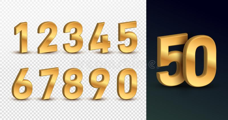 Gold 3d numbers. Design for birthdays and holidays, web, poster, card. Symbol vector illustration. Isolated on a transparent. Background stock illustration